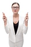 Young business woman with glasses wishing or Stock Images