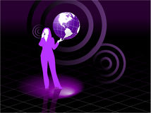 Young business woman global communication concept Royalty Free Stock Images