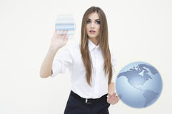 Young business woman with globe at her hand on white Stock Photo