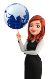 Young Business Woman with globe Stock Photos