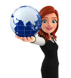 Young Business Woman with globe Royalty Free Stock Photography