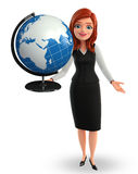Young Business Woman with globe Royalty Free Stock Photo
