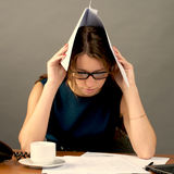Young business woman is greatly Stock Image