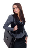 Young Business Woman with a handcase. A young womand in a business look, having a handcase as an accessoir Stock Image