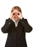 Young business woman hands like binoculars Royalty Free Stock Photography