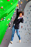 Young business woman hanging at wall, beautiful girl Stock Images