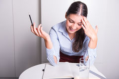 Young business woman is happy she found a solution stock images