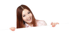 Young Business Woman Happy Showing blank billboard Stock Photos