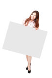 Young Business Woman Happy Showing blank billboard Royalty Free Stock Image