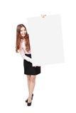 Young Business Woman Happy Showing blank billboard Stock Image