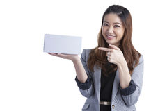Young business woman happy smile hold gift box in hands Stock Images