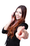 Young Business woman happy speaking mobile phone Royalty Free Stock Image