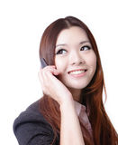 Young Business woman happy speaking mobile phone. Isolated on white background, model is a asian beauty Stock Photography
