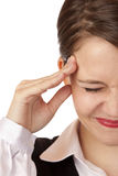 Young business woman has strong migraine Royalty Free Stock Photos