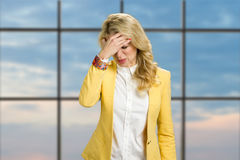 Young business woman having headache. Royalty Free Stock Photos