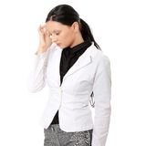 Young business woman with headache Royalty Free Stock Photo