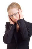 Young business woman with headache Royalty Free Stock Images