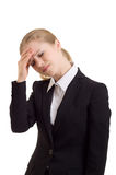 Young business woman with headache. On a white background stock photos