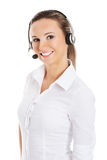 Young business woman in headphones and microphone. Royalty Free Stock Photography