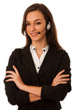 Young business woman with headset isolated over white background Royalty Free Stock Images