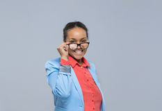Young Business Woman Hold Glasses African American Girl Happy Smile Businesswoman Royalty Free Stock Photos
