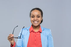 Young Business Woman Hold Glasses African American Girl Happy Smile Businesswoman Stock Photography