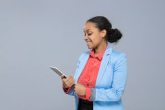 Young Business Woman Hold Tablet Computer African American Girl Happy Smile Businesswoman Royalty Free Stock Photos
