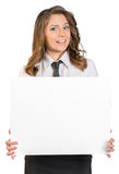 Young business woman holding blank poster Royalty Free Stock Images