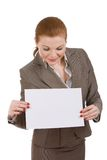 Young business woman holding board Stock Image