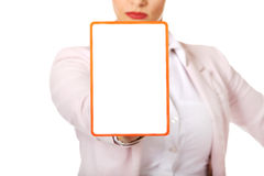 Young business woman holding a board with ban Royalty Free Stock Photo