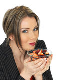 Young Business Woman Holding a Bowl of Fresh Fruit Berries Stock Photos