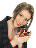 Young Business Woman Holding a Bowl of Fresh Fruit Berries Royalty Free Stock Photography