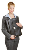 Young business woman holding briefcase Stock Photo