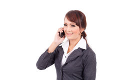 Young business woman holding cellphone Stock Image