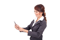 Young business woman holding cellphone Stock Images