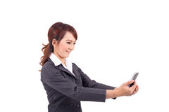 Young business woman holding cellphone Royalty Free Stock Photography
