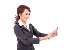 Young business woman holding cellphone Royalty Free Stock Photos