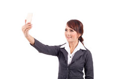 Young business woman holding cellphone Stock Photography