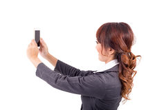 Young business woman holding cellphone Royalty Free Stock Images