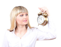 Young business woman holding clock Stock Photos