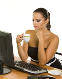 Young business woman holding a cup of coffee Stock Photo
