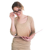 Young business woman holding documents Stock Photos