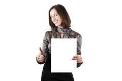 Young business woman holding empty white board Stock Image