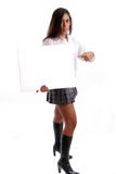 Young business woman holding an empty white card Stock Photo