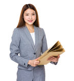 Young business woman holding file Stock Image