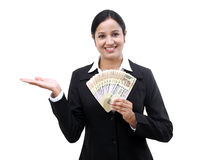 Young business woman holding Indian currency notes. Happy young business woman holding Indian currency notes Stock Photos
