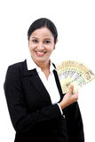 Young business woman holding Indian currency notes. Happy young business woman holding Indian currency notes Stock Photography