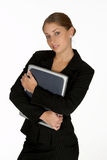 Young Business Woman Holding Laptop Royalty Free Stock Images