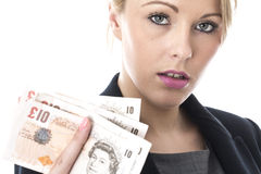 Young Business Woman Holding Money Royalty Free Stock Images