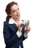 Young business woman holding money Stock Images